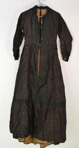 Victorian 1860's Black Fancy Silk Dress /  Gown -
