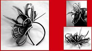 Black-and-white-fascinator-with-diamante-039-detail-on-a-comb-Alice-band-or-clip