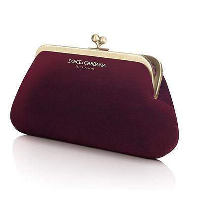 DOLCE GABBANA D&G RED GOLD MAROON VELVET LADIES PURSE EVENING CLUTCH BAG