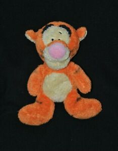 Peluche doudou tigrou DISNEY NICOTOY jaune orange noir nez rose 26 cm TTBE