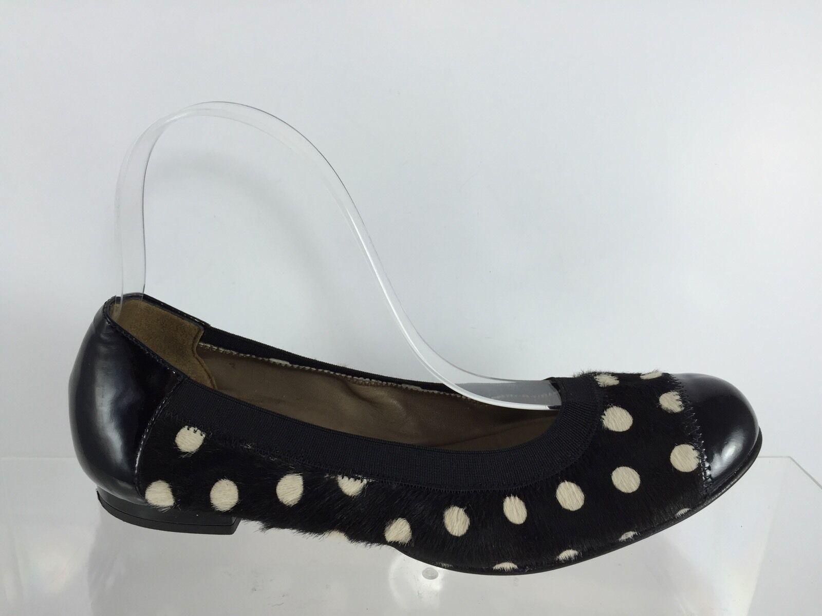 Anyi Lu Womens Black/White Polka Dot Leather Flats 36