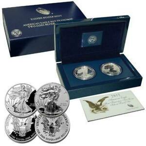 2012-PROOF-SILVER-EAGLE-TWO-COIN-SET-in-ORIGINAL-DELUXE-BOX-w-COA