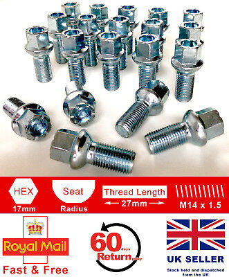Locking Wheel Bolts 14x1.5 Nuts Tapered for Mercedes S-Class 06-13 W221