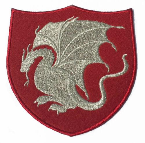 4 Inch Velvet Embroidery Iron//Sew on Badge Emblem King Arthur Dragon Patch
