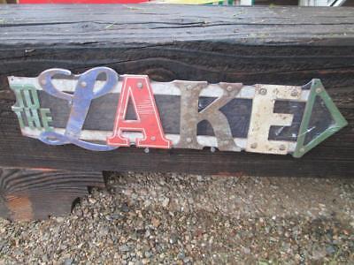 TO THE LAKE METAL DISPLAY SIGN ARROW vintage look RUSTIC Fishing Lures GA