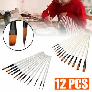 12-Pinselset-Kuenstler-malen-Pinsel-Acryl-Olmalerei-Aquarell-Malpinsel-Feine-Set