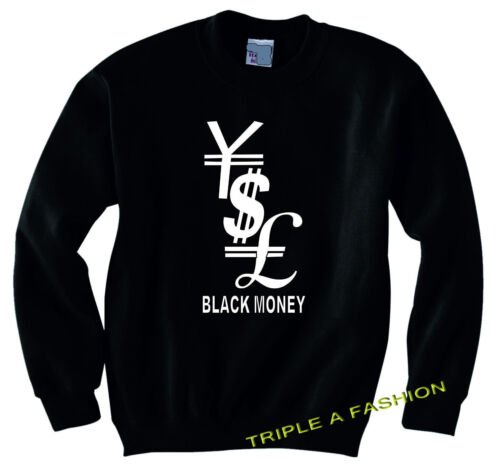 DOLLAR UNISEX long sleeve NEW Sweatshirt GOLD PRINT YEN BLACK MONEY POUND