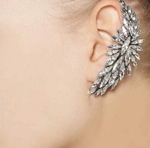 Beautiful Crystal Flower Ear Cuff Clip Wrap Earring Left Ear Stud Earring Gift