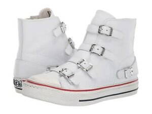 Ash-Brand-Women-039-s-Celeb-All-Star-Virgin-Leather-Mid-Top-Shoes-Sneakers-White