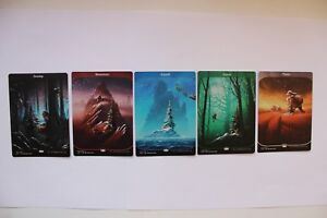 Mtg Magic Painted Altered Art Christmas Winter Set х5 Unstable Land