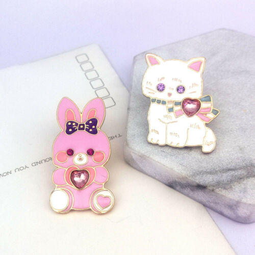 2 Pièce//Set émail mignon lapin chat strass cœur BROCHE PINS Fashion Jewelry