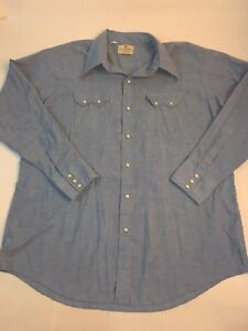 Vintage shirt pearl snap chambray western shirt by Dee Cee large