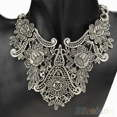 Bohemian Silver Gold Hollow Carved Flower Pattern Bib Collar Pendant Necklace