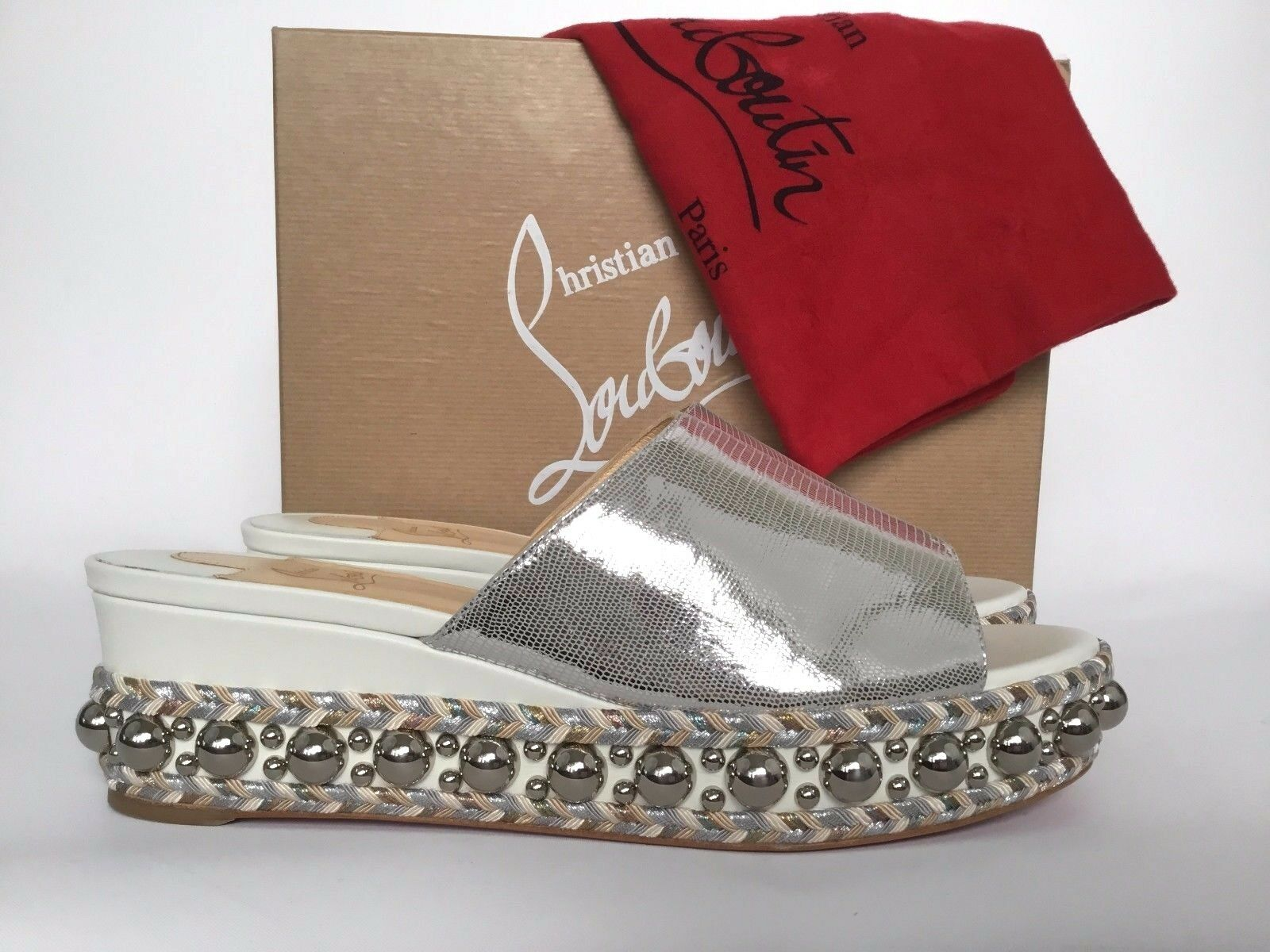 Christian Louboutin JANIBASSE 60mm 60mm 60mm Silver Leather Stud Platform Mule Slide 41 11 a72c70