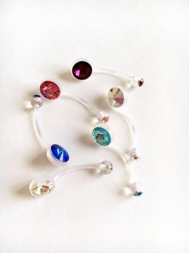 3// 6 or 1 choose Pregnancy Maternity Belly Bar Flexible double jewel star//round