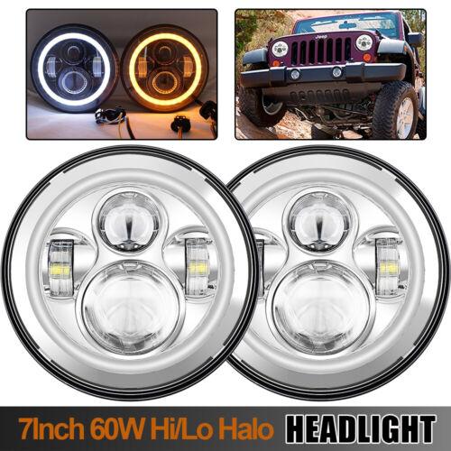 "7/""LED Headlight Projector Hi//Lo Beam Halo For 1965-1985 Toyota Land Cruiser FJ40"