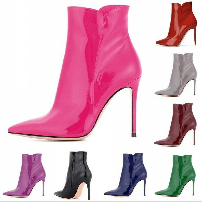 Sexy donna Pointy Toe Zip 12cm Heel Nightclub Party Ankle stivali Casual scarpe