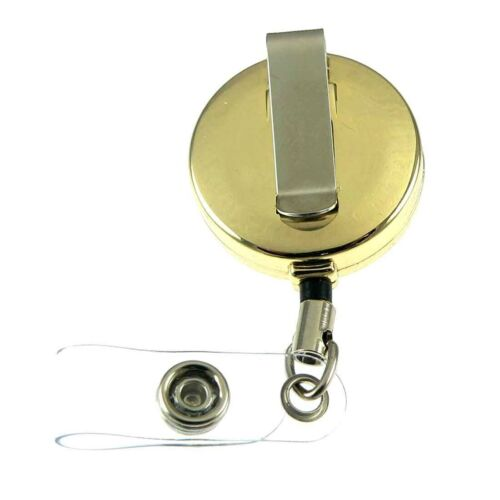 Thin Blue Line Police Badge Reel ID Security Pass Holder Subdued Flag Gold