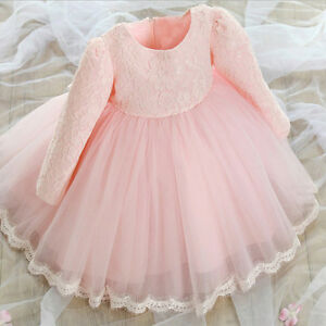 Details About Winter Toddler Infant Baby Girl Dress Christening Baptism Pageant Party Wedding