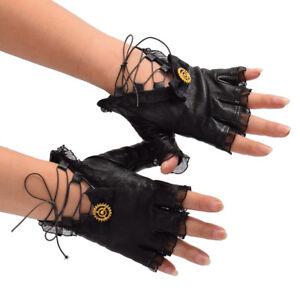 Vintage-Gothic-Lolita-Steampunk-Gear-Glove-Black-PU-Lace-Up-Bow-Costume-Glove