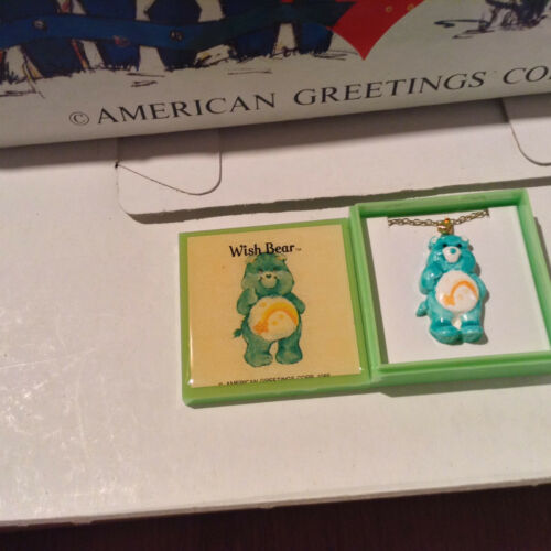 """CARE BEARS /""""WISH BEAR/"""" VINTAGE NECKLACE  AMERICAN GREETINGS CORP 1985"""