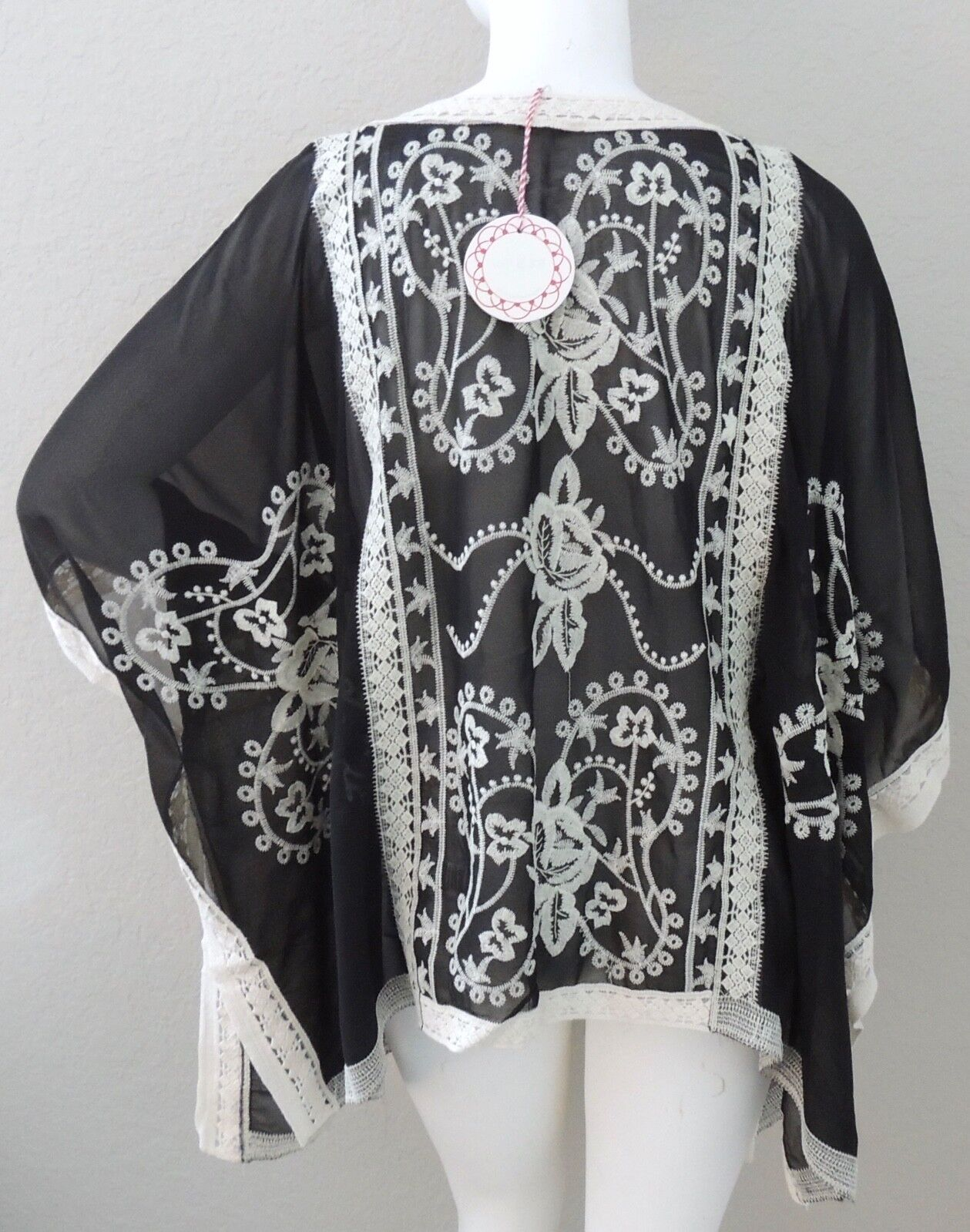 Umgee Embroidered Floral Kimono Wrap Cardigan Jacket Black - Plus ...