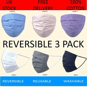 Pack of 3 100% Cotton Face Masks Washable Reversible 6 Colours Pink Lilac Blue