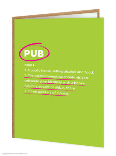 Brainbox Candy funny humour /'Pub/' birthday greeting card cheeky definition joke