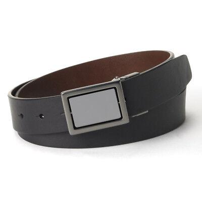 New Rock /& Republic Men/'s Full Grain Leather Belt Set B 2 Buckles Black MSRP $55