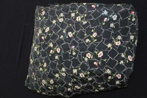 RARE-VINTAGE-DEADSTOCK-1950-039-S-VERY-FINE-BLACK-FLORAL-SILK-FABRIC-17-YDS-X-39-034-W