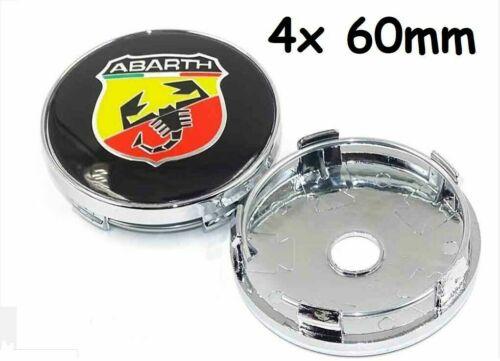 4x 60mm Autoräder Nabendeckel Radmitte Kappen Für Fiat Abarth 500 Emblem Logo