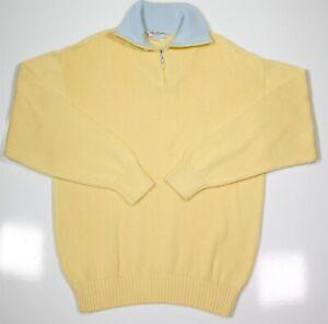 BULLOCK-amp-JONES-Light-Yellow-Heavy-Knit-Cotton-Pullover-Sweater-XL