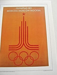 Olympic-Games-1980-Moscow-Russia-Official-Poster-Reprint-16x12-Offset-Litho