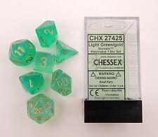 Chessex 7 Dice Set Borealis Light Green w/ Gold CHX 27425 for D&D & D20