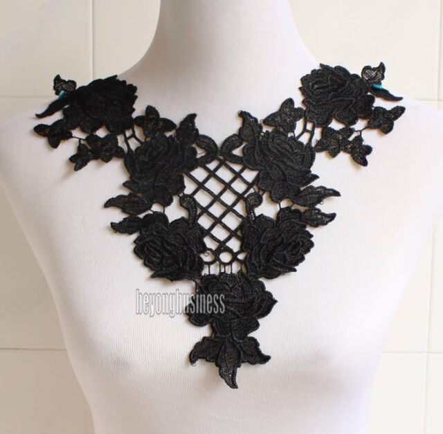 Fabric Venise Lace Sewing Applique Neckline Collar Off White Black for Pick