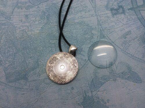Kit de Collar de Plata 25mm redondo Cabujón Ajuste De Vidrio /& Kits de 5 Cable de cuero de imitación