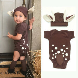 57b20f586 Newborn Baby Boy Girl Deer Romper Jumpsuit Bodysuit Outfit Clothes ...