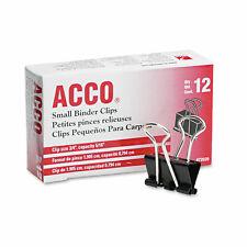 Acco Small Binder Clips Steel Wire 516 Cap 34w Blacksilver Dozen 72020