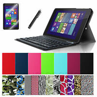 24 Colors Leather Cover Case Bluetooth Keyboard/film/pen For Dell Venue 8 Pro