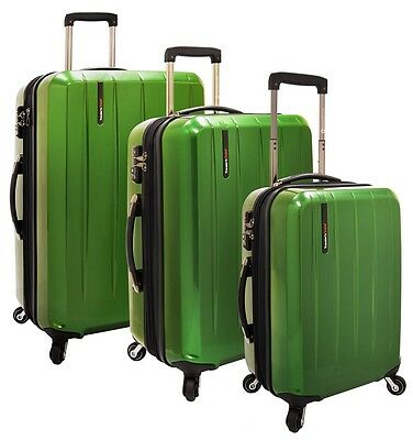 Rochester Green 3pc Expandable PC Hardside Spinner Luggage TSA Lock Suitcase Set