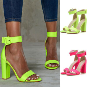 Ladies-Women-Peep-Toe-Ankle-Strap-Buckle-Sandals-Sexy-Block-High-Heel-Shoes-Size