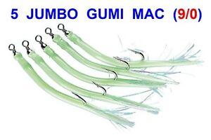 5 RED GUMMI MAC SAND EELS 9//0 SEA FISHING NORWAY BOAT ROD COD LURES RIGS PIRKS