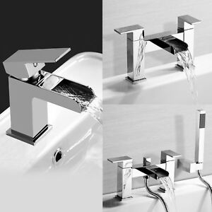 Image Is Loading Modern Chrome Waterfall Bath Filler Tap Basin Mixer