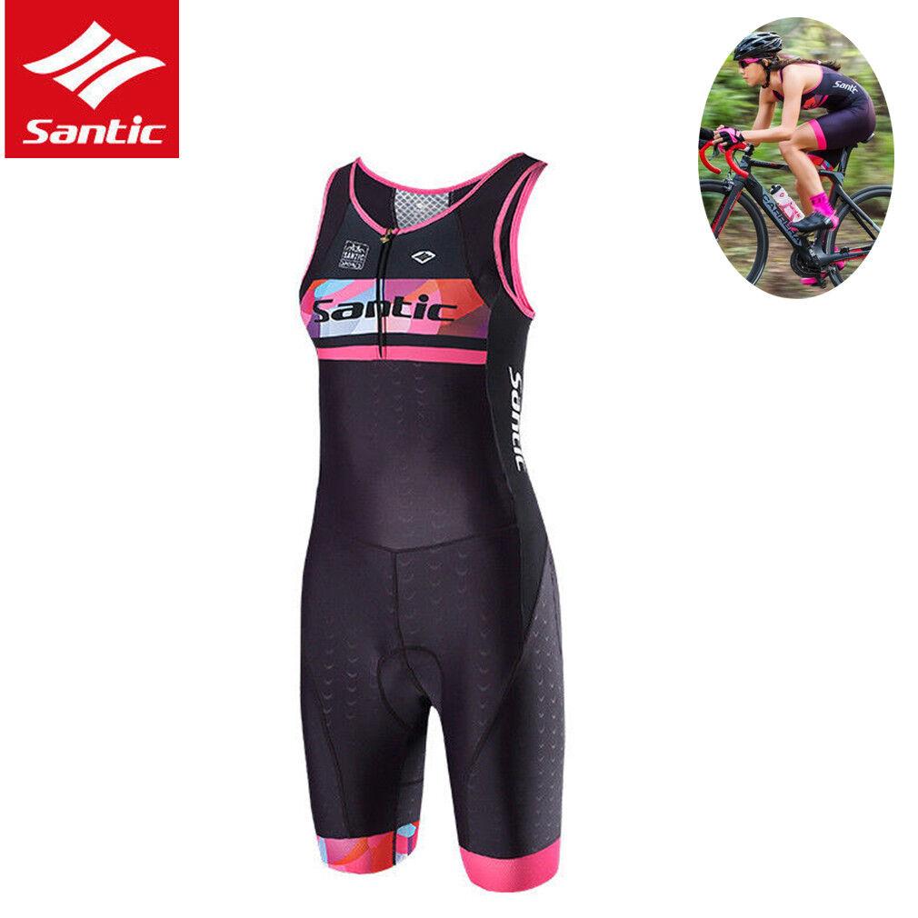 SANTIC ciclismo Mono Pantalones Cortos Pantalones Cortos Acolchado para mujer Jersey Ajustado MONO Negro rosado