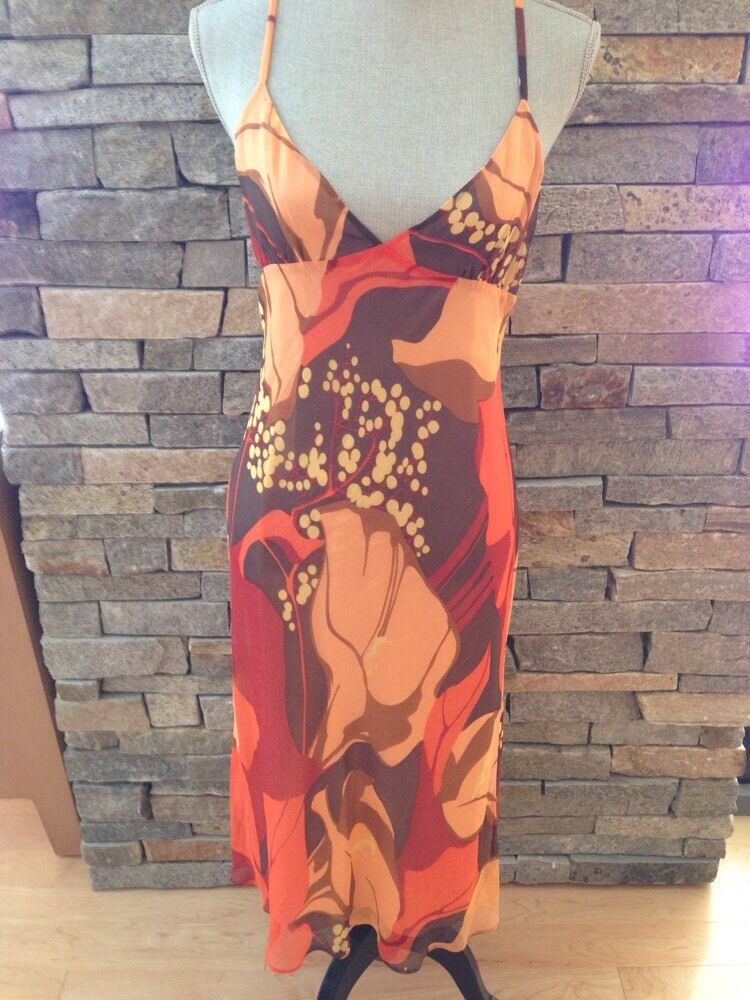 NWT Theory - Summer Silk Dress - Bold Floral - orange - Brown - Size 12
