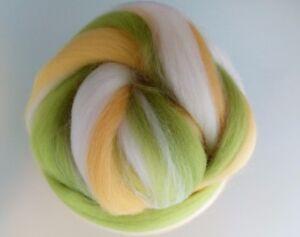 Melange-White-Yellow-Willow-Green-100-Merino-Wool-Tops-for-Felting-50g
