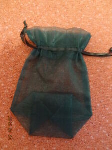 JEWELLERY BAG  EMERALD GREEN VOILE WITH SATIN DRAW RIBBON - <span itemprop='availableAtOrFrom'>Ellesmere Port, United Kingdom</span> - JEWELLERY BAG  EMERALD GREEN VOILE WITH SATIN DRAW RIBBON - Ellesmere Port, United Kingdom