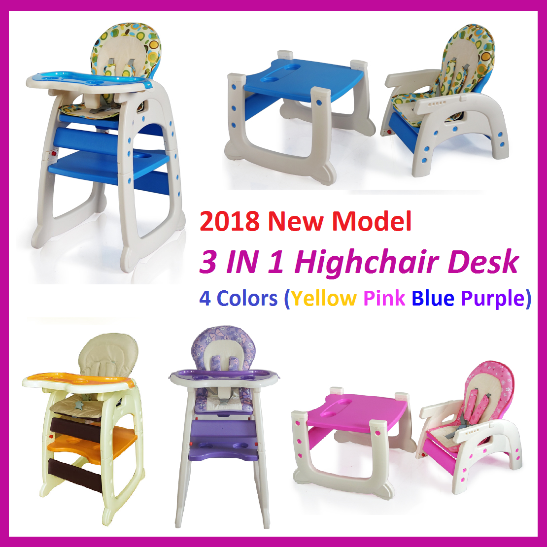 3 In 1 Baby High Chair Desk Convertible Play Table Conversion Seat 4 Colours