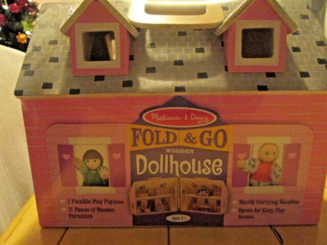 Brand New Melissa Doug Fold Go Dollhouse Play Set With People Furniture
