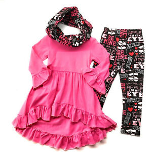 a0a1ad57d Valentine's Day Infant Baby Toddler Girl Love Scarf Boutique Outfit ...